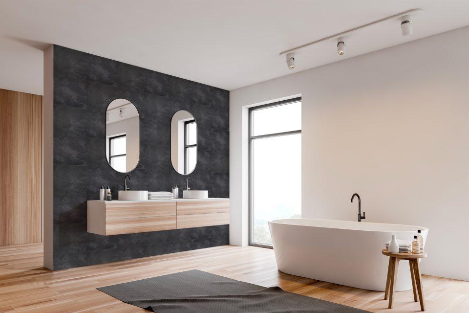 Feuille de pierre 100% naturelle adhésivée Stick&Stone by StoneLeaf modèle Londres aux murs d'une salle de bain