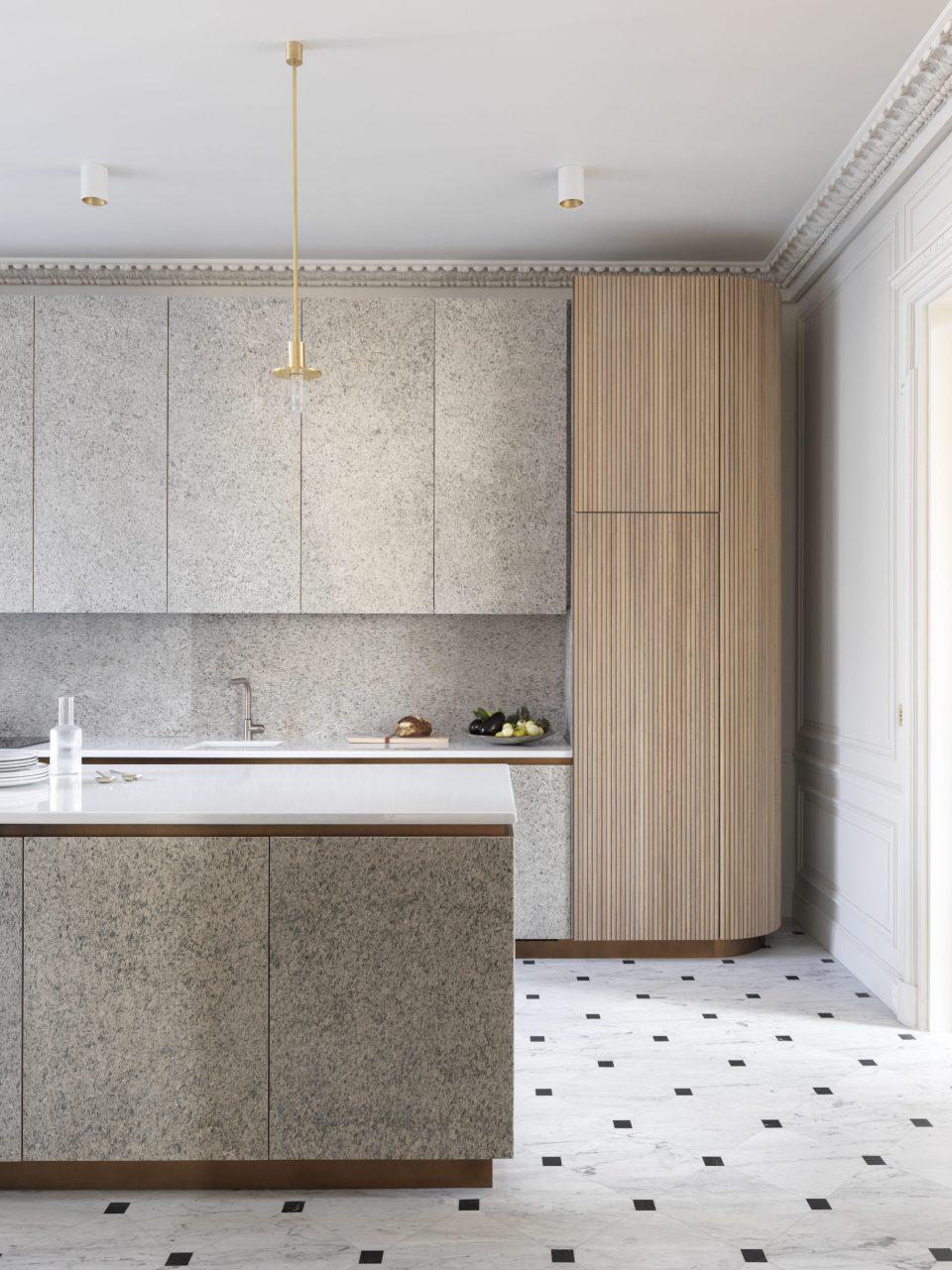 Feuille de pierre 100% naturelle StoneLeaf modèleOslo sur mur crédence et meuble de cuisine